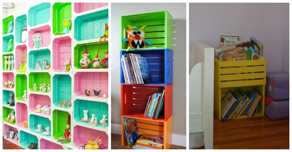Stunning Effect Amazing Shelving Ideas for Kids' Room - wooden crates
